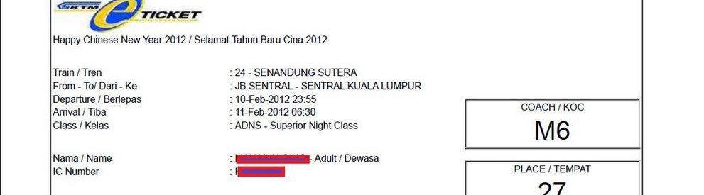 malaysia train ticket