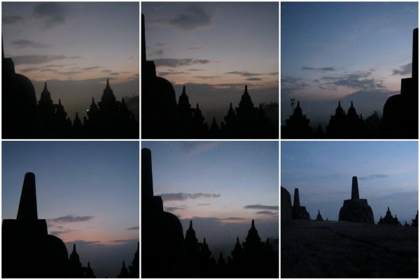 Stages of sunrise at Borobudur