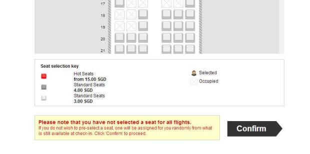 AirAsia seat selection