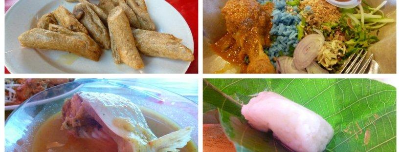 Food in east coast Peninsula Malaysia keropok lekor, tapai, nasi kerabu, patin