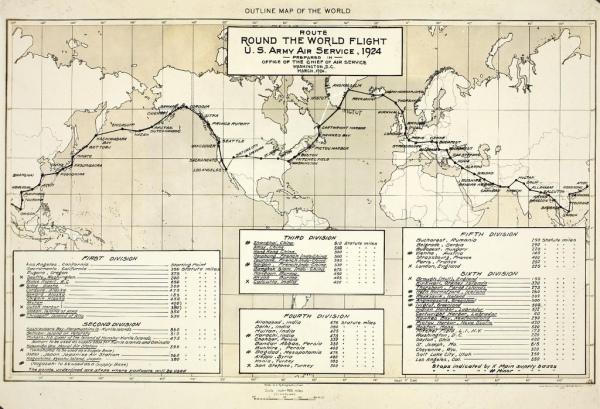 Vintage round the world map