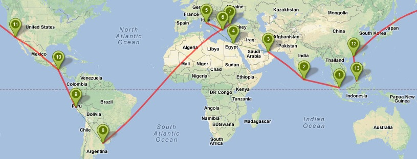 Round the World route