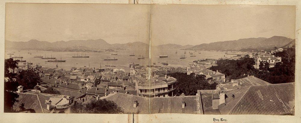 Hong Kong. Panorama of the harbour, Old timey Hong Kong