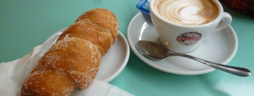 Italian coffee and pastry (cornetto)