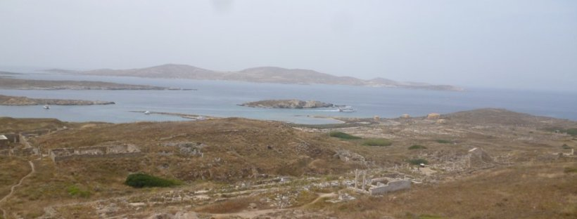 View from halfway up the hill on Delos