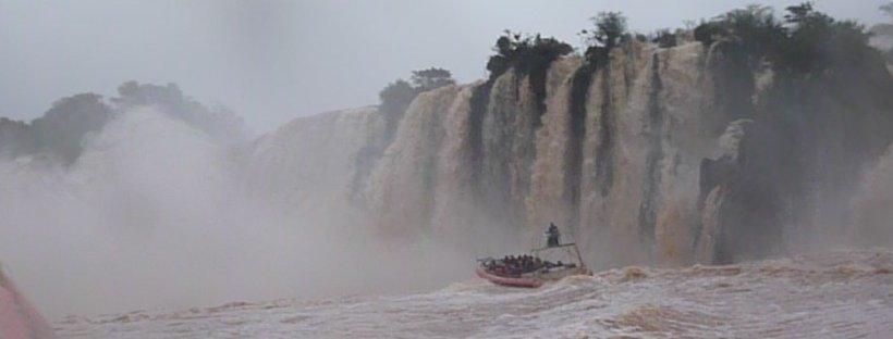 Boating on Iguazu Falls