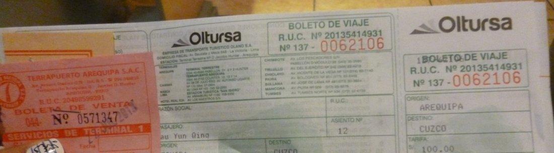 Oltursa bus ticket