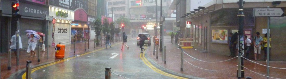 Dreadful typhoon day in Hong Kong