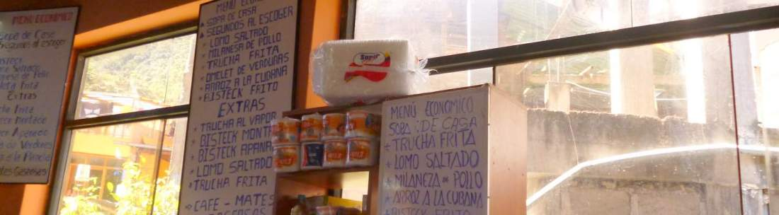 menu at aguas calientes market