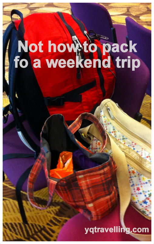 how not to pack for weekend trip