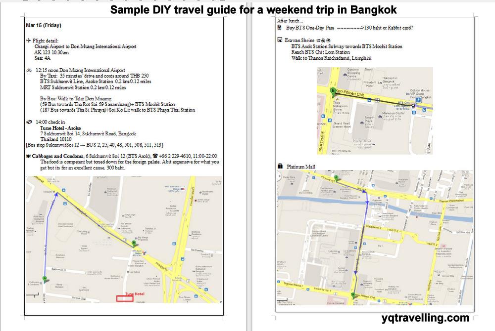 sample travel guide weekend trip in bangkok