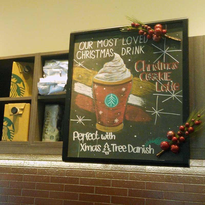 Starbucks Christmas Cookie Latte signboard