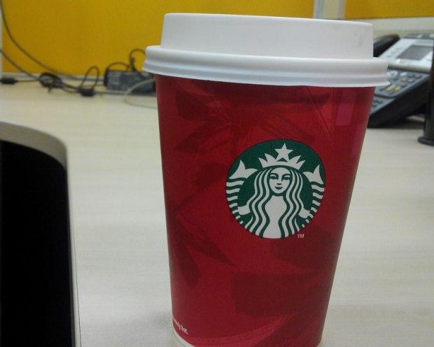 Cheerful Starbucks Christmas cups.