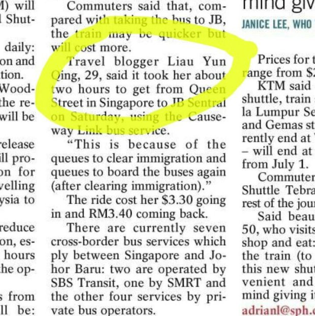 Liau Yun Qing in the news as travel blogger